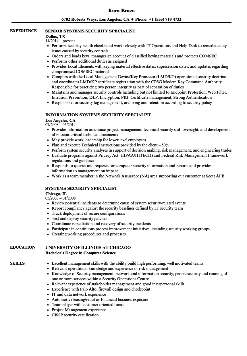 industrial security specialist resume sample