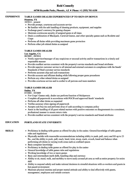 sample free table game dealer resume