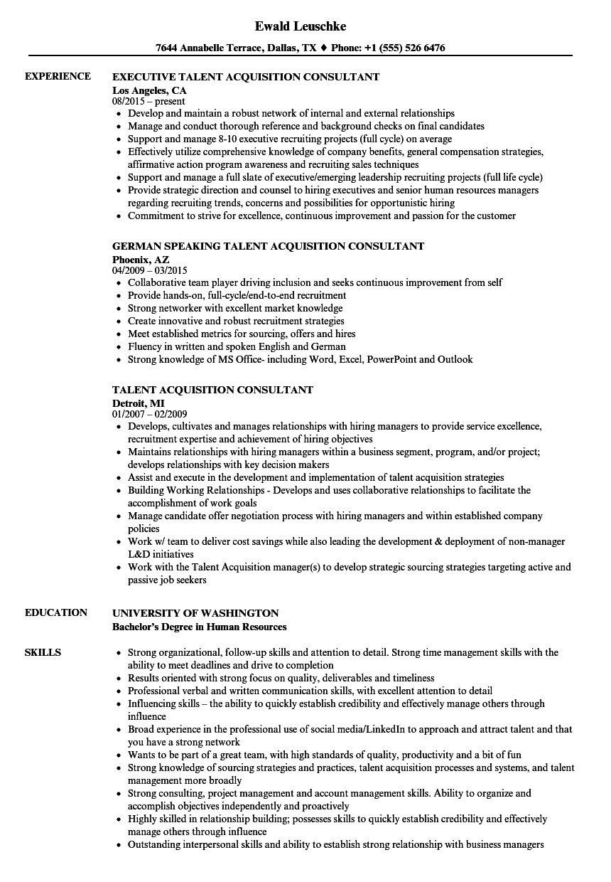 talent acquisition consultant resume sample