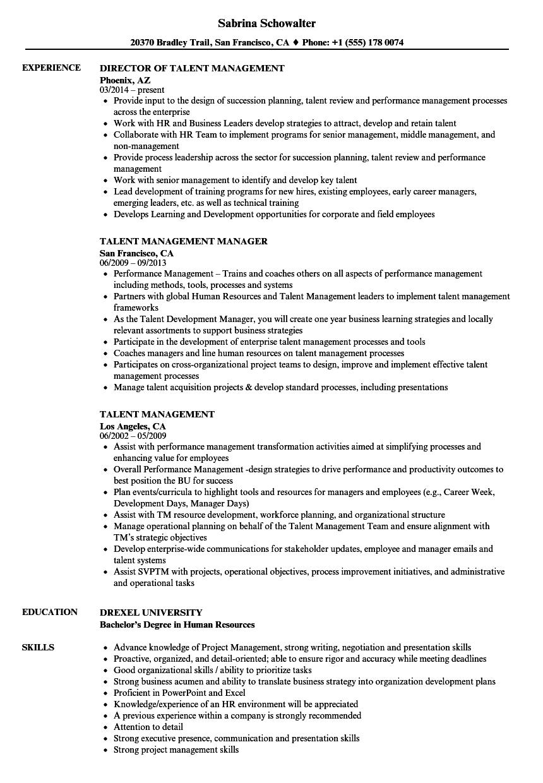 talent management resume templates