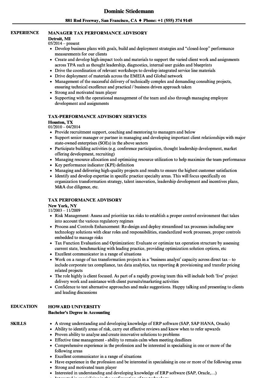 tax analyst resume examples