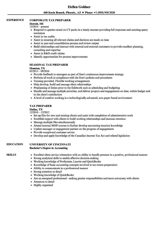 Tax Preparer Resume Samples Velvet Jobs