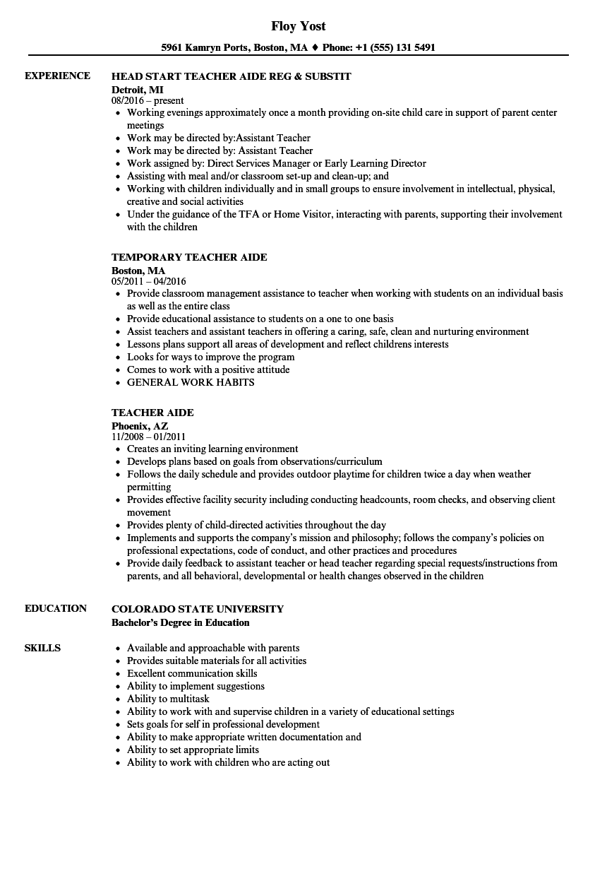 resume for teachers aide with no experience
