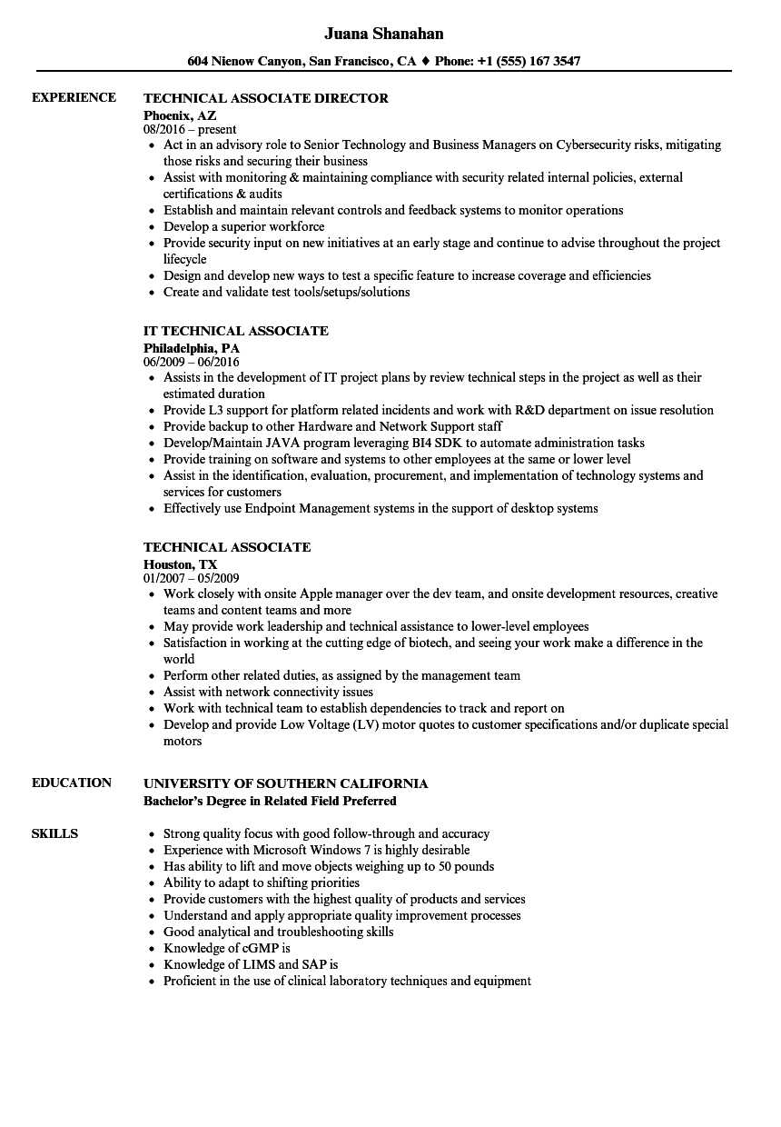 sample of associate project manager resume