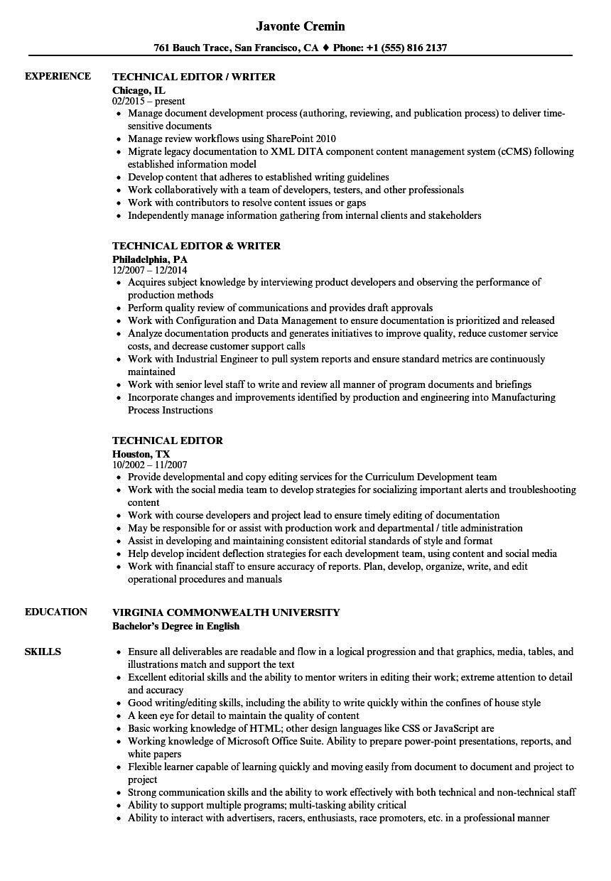 sample resume for editor writer