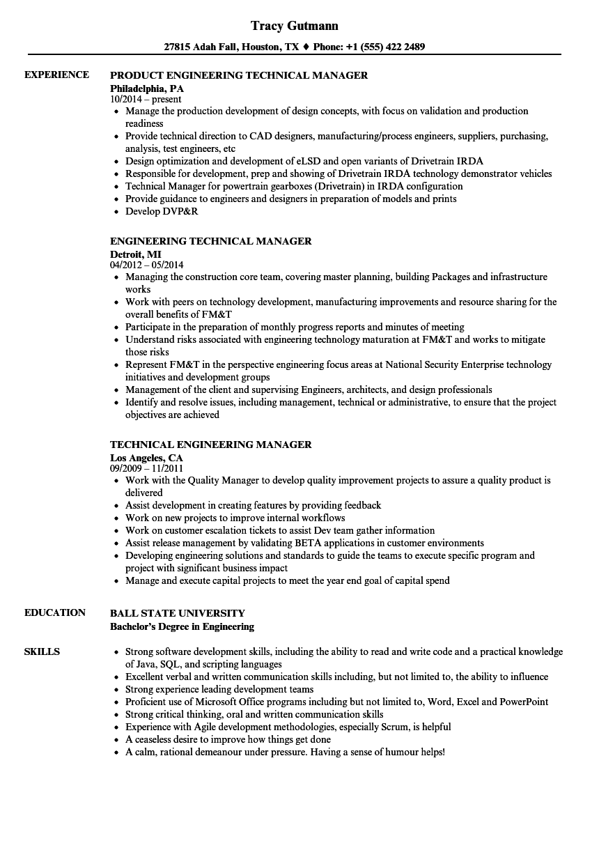 technical engineering resume examples