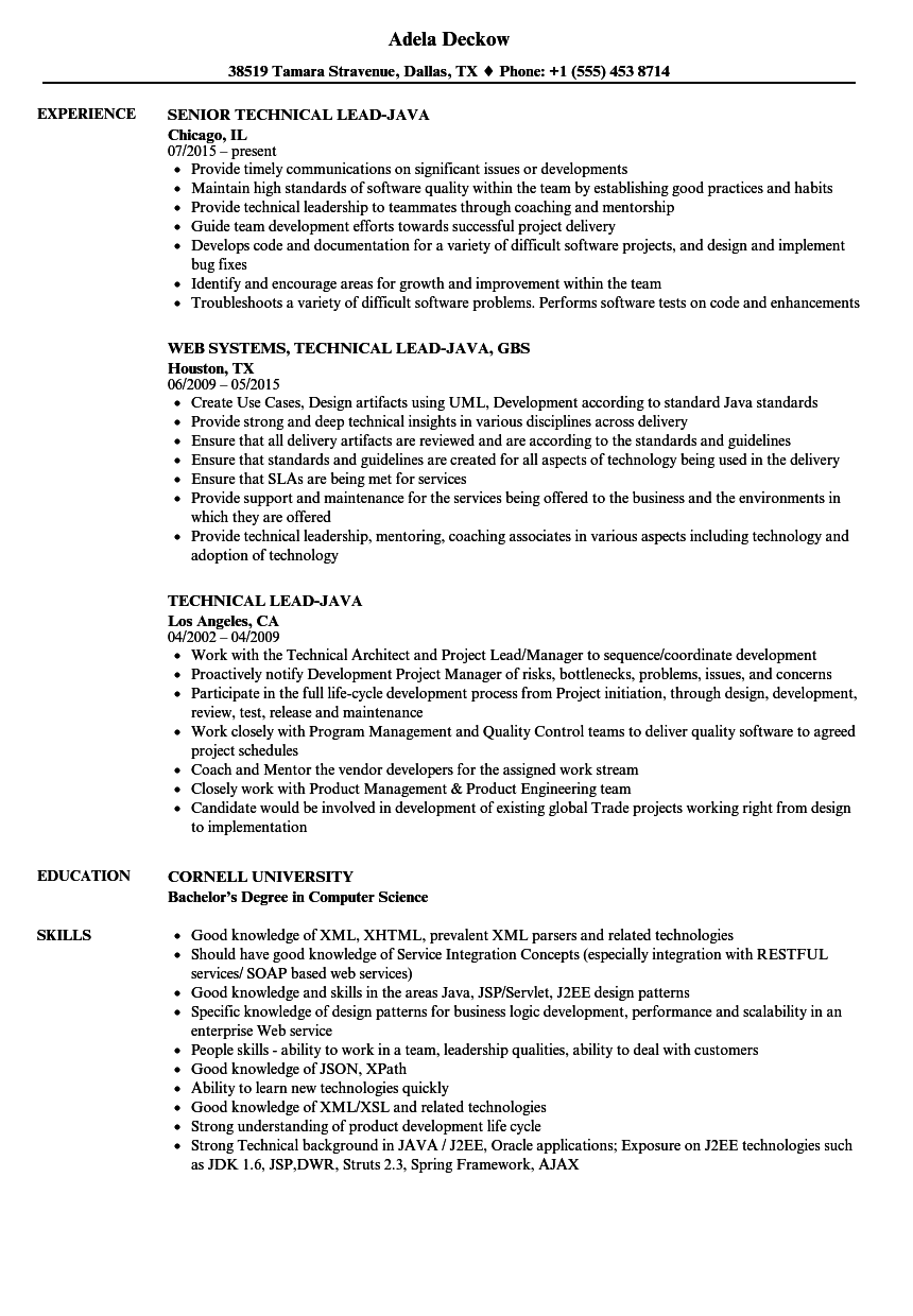 resume samples for technical jobs