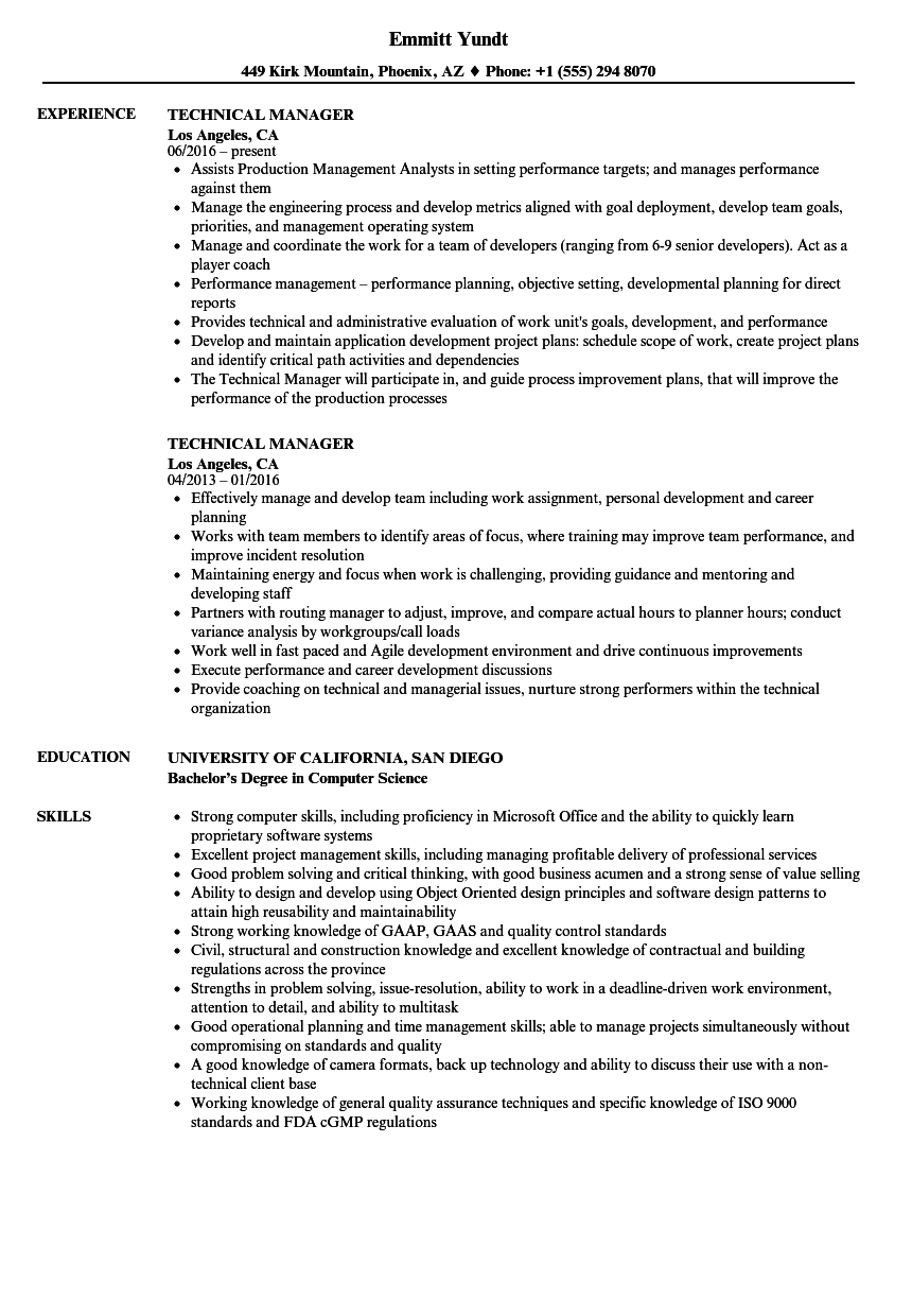 resume sample technical account manager