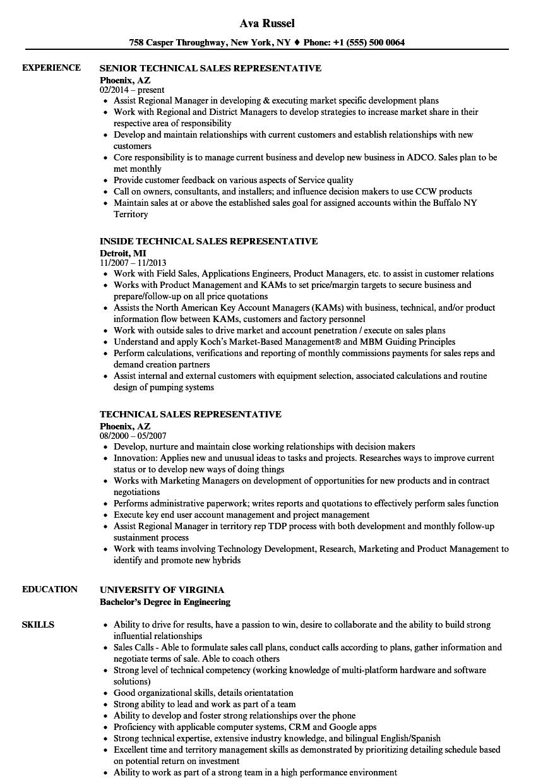 sample resume technical sales representative