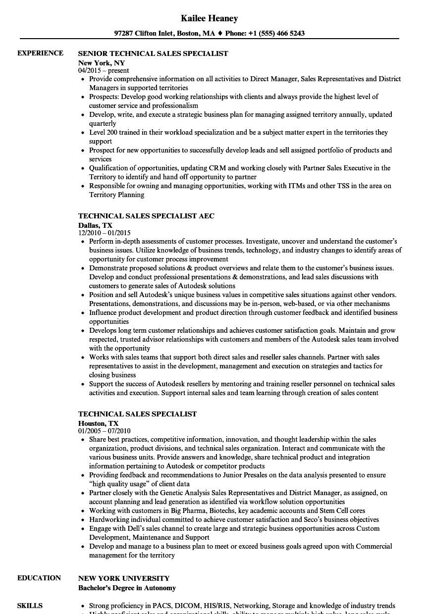 technical sales specialist resume samples