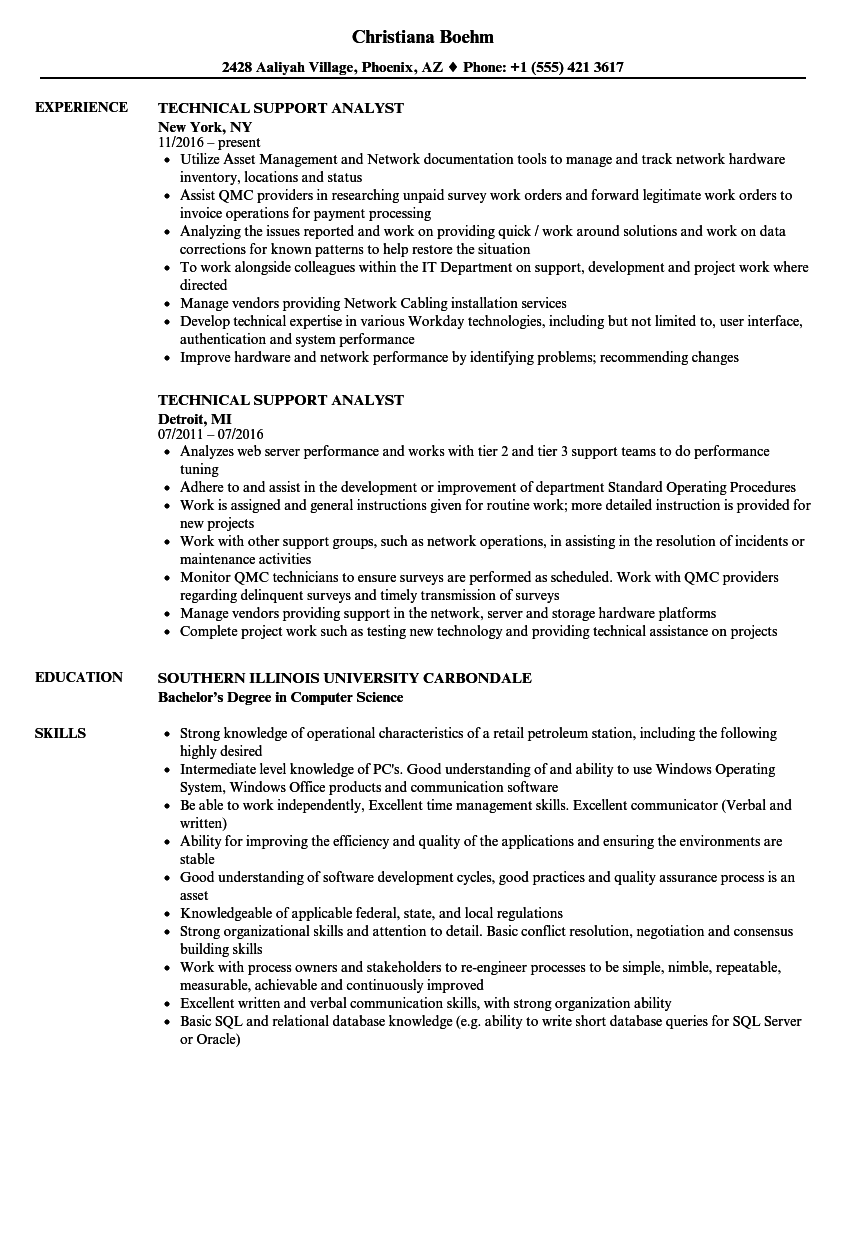 product support analyst sample resume