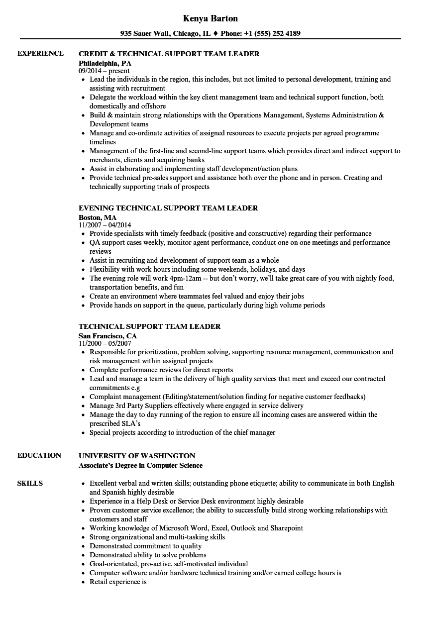 restaurant team leader resume sample