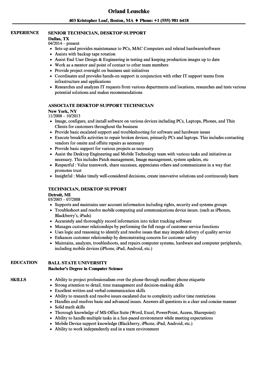 remote support sample resume