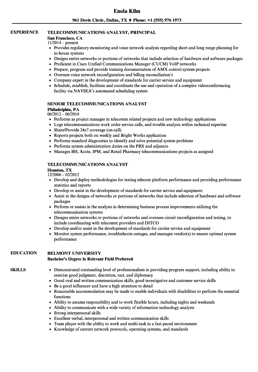 telecom analyst resume samples
