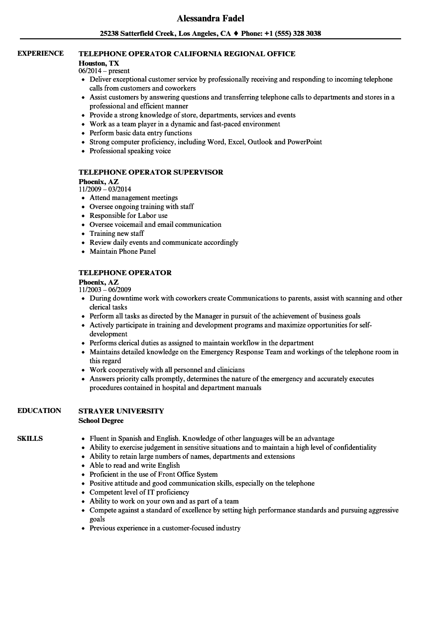 hotel telephone operator resume sample