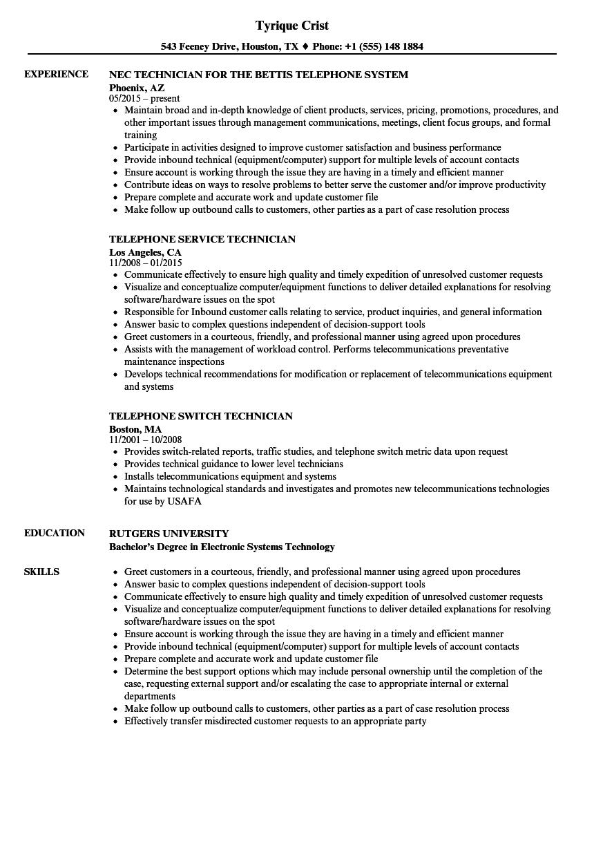 sample resume for telephone technician