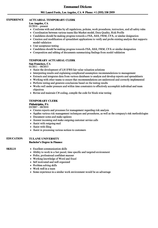 sample resume for temporary jobs