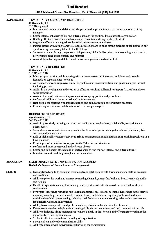 sample resume for entry level recruiter