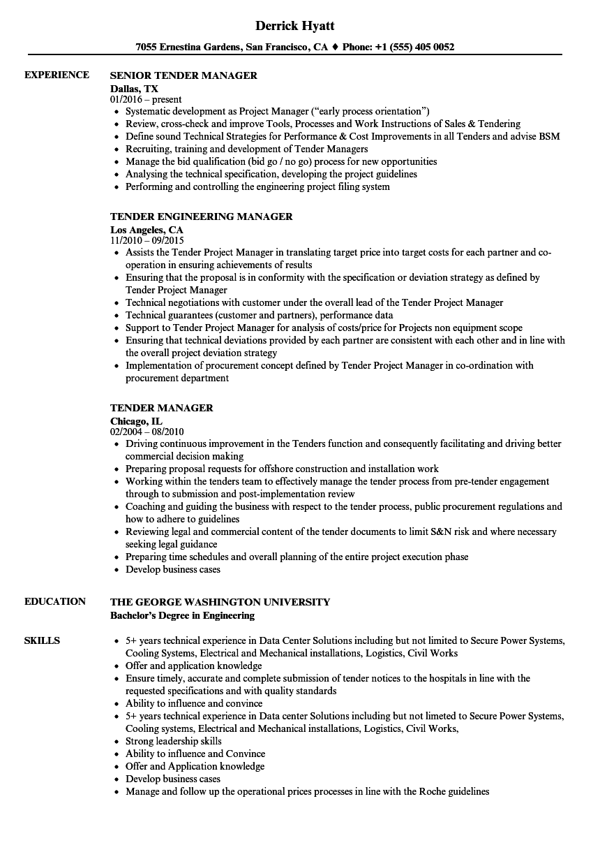 tender administrator resume samples
