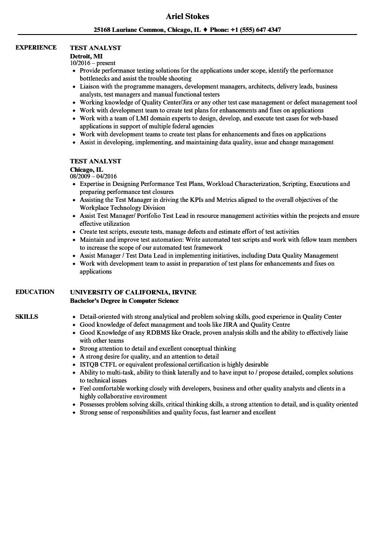 test analyst sample resume