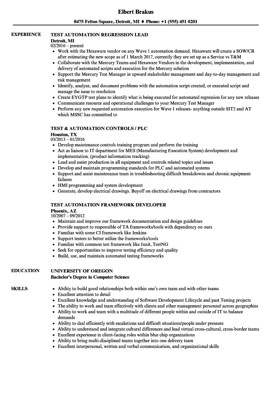 robotics process automation sample resume