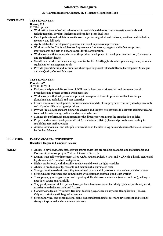 system test engineer resume sample