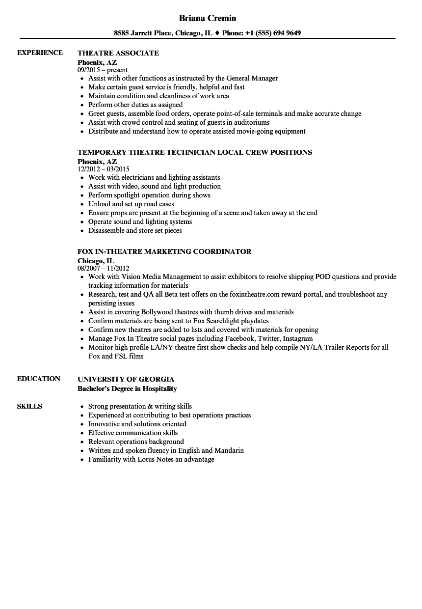 example of a theater resume