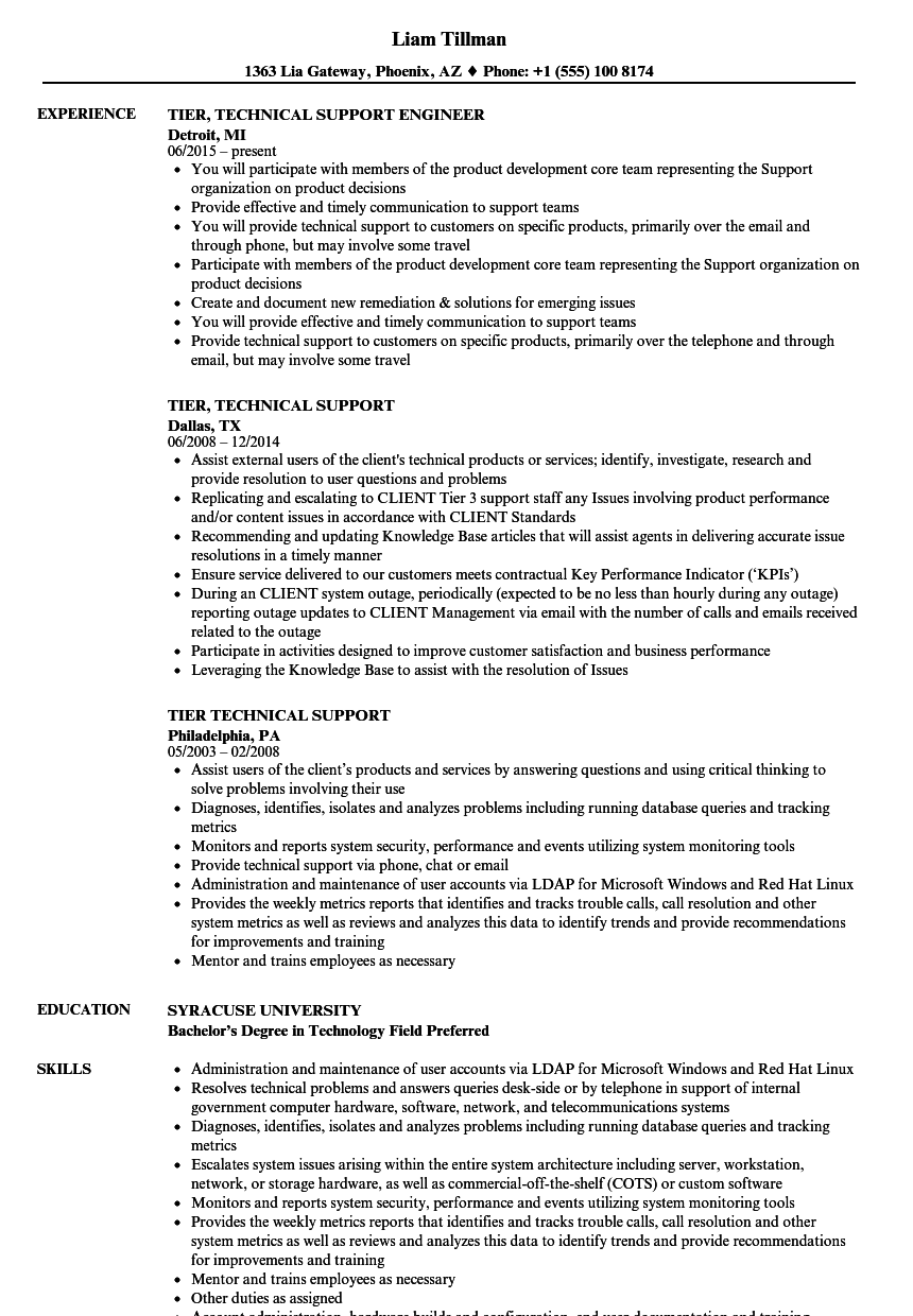 tier 2 support resume sample