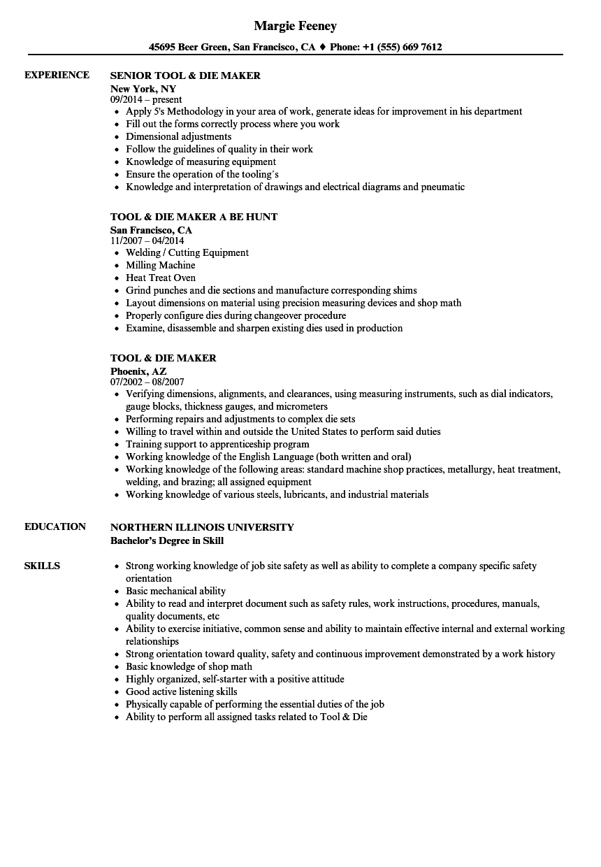 die maker resume sample