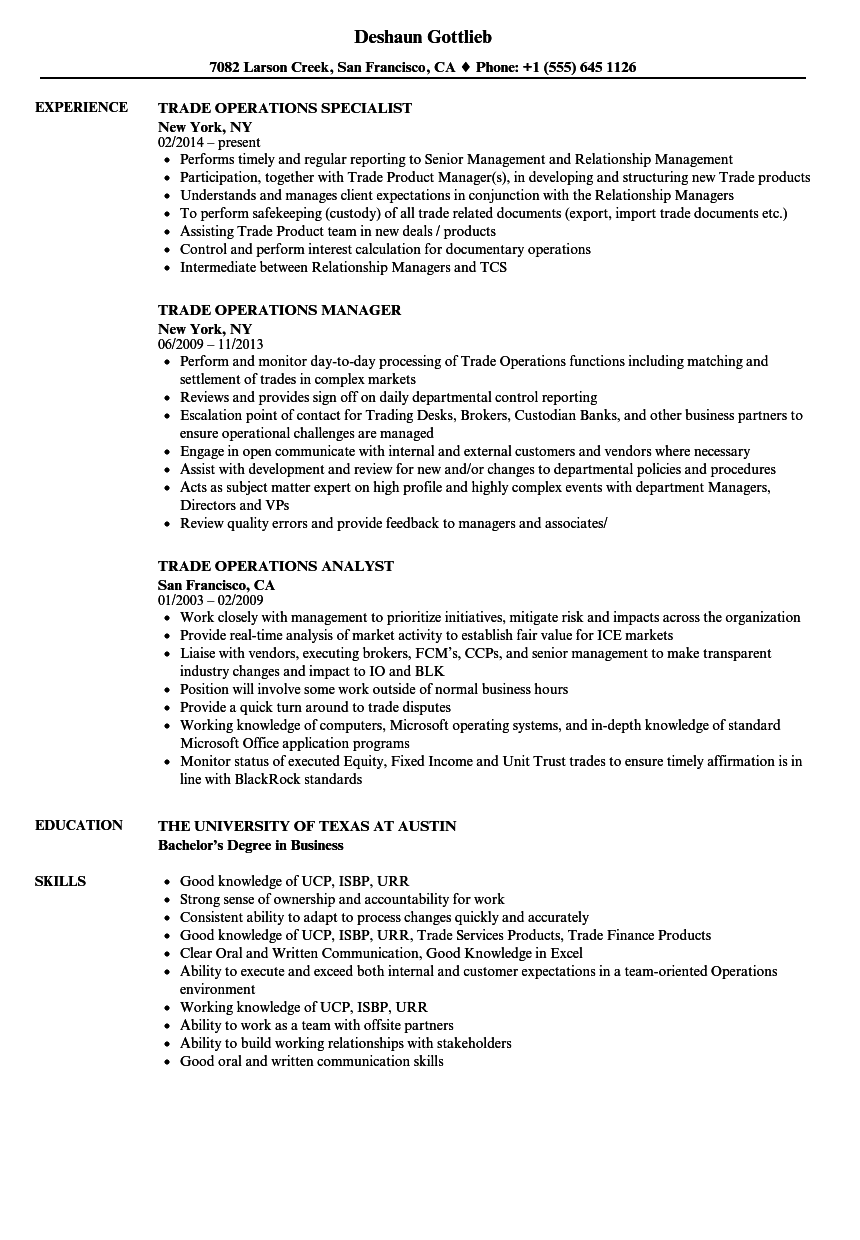 facility operations specialist sample resume