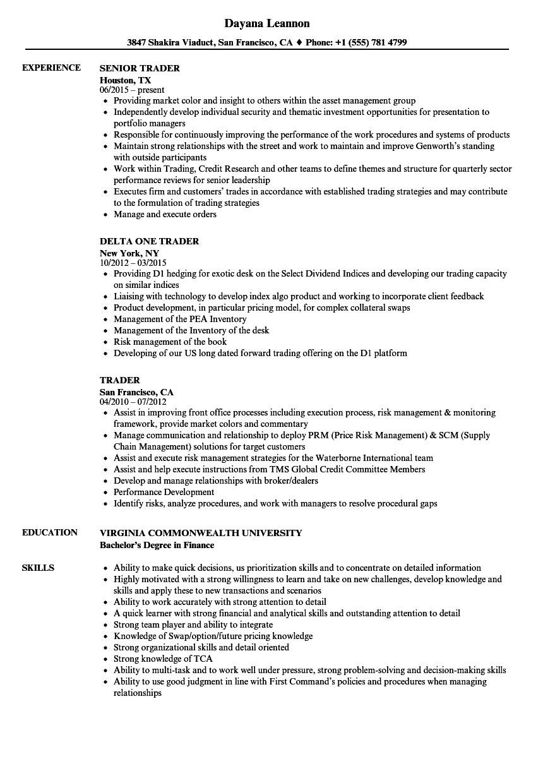 derivatives trader resume sample