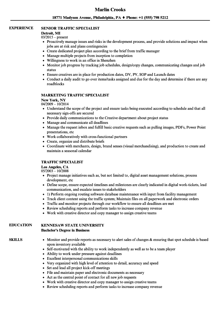traffic management resume examples