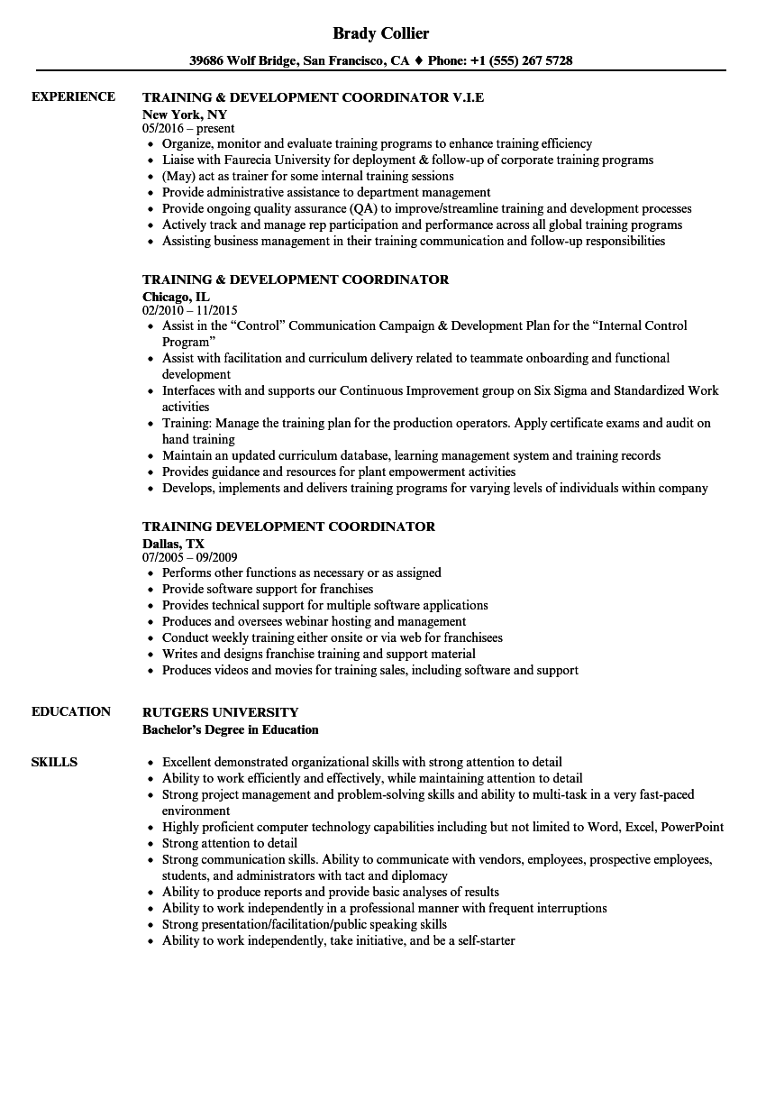 sample resume for training and development coordinator