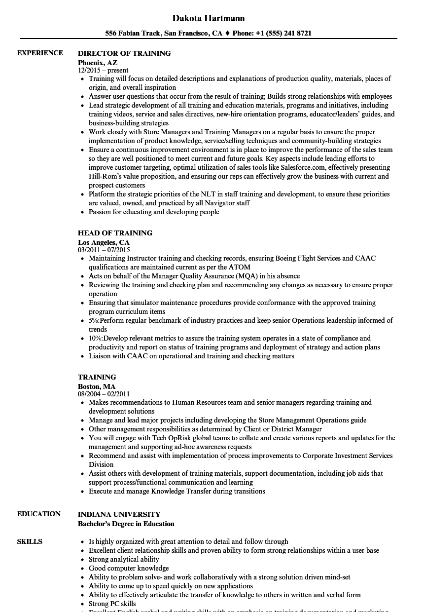 sample resume for on the job training