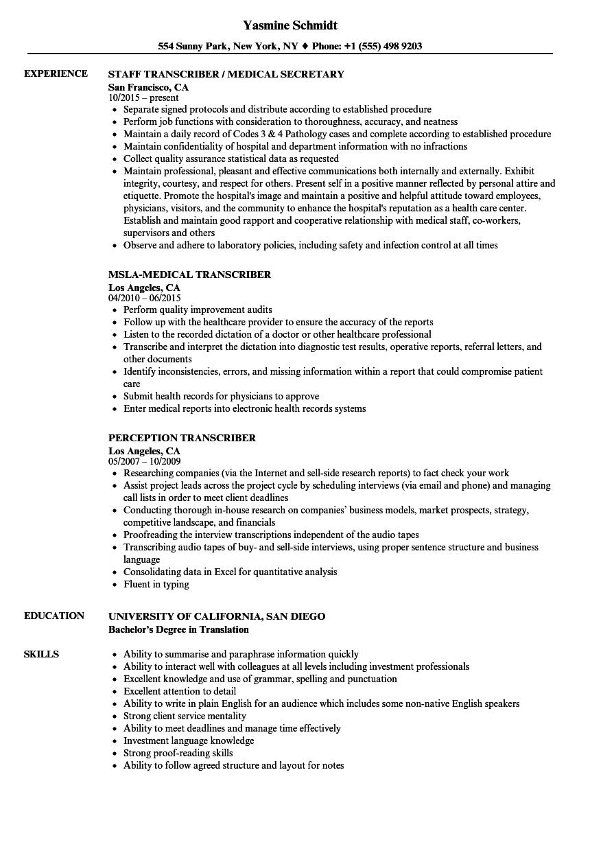 medical typist resume sample