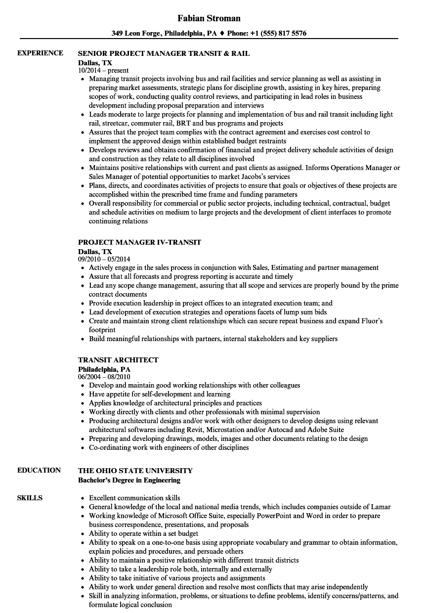 sample resume for bus conductor