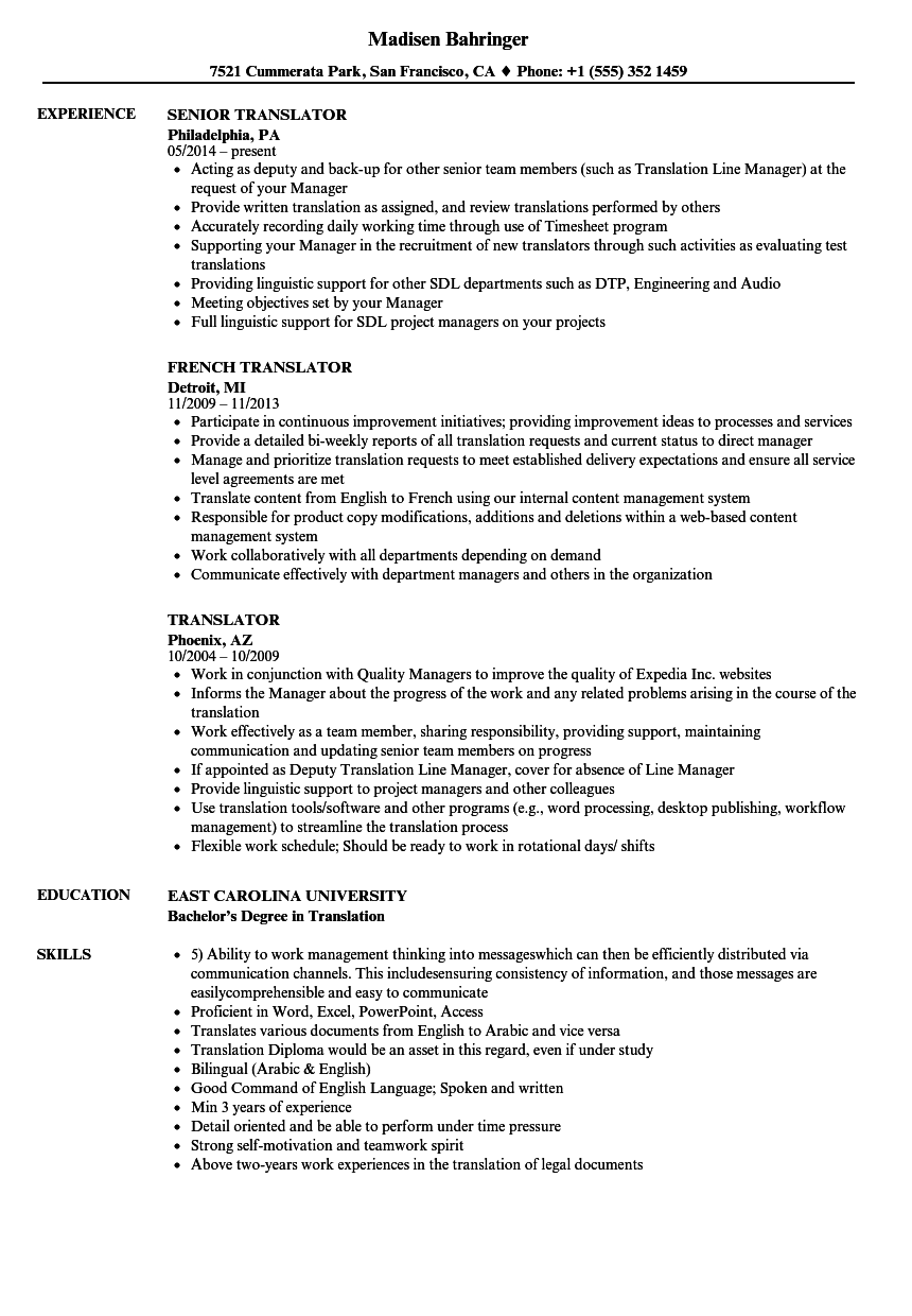 cv resume english translator