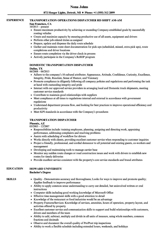 transportation dispatcher resume templates