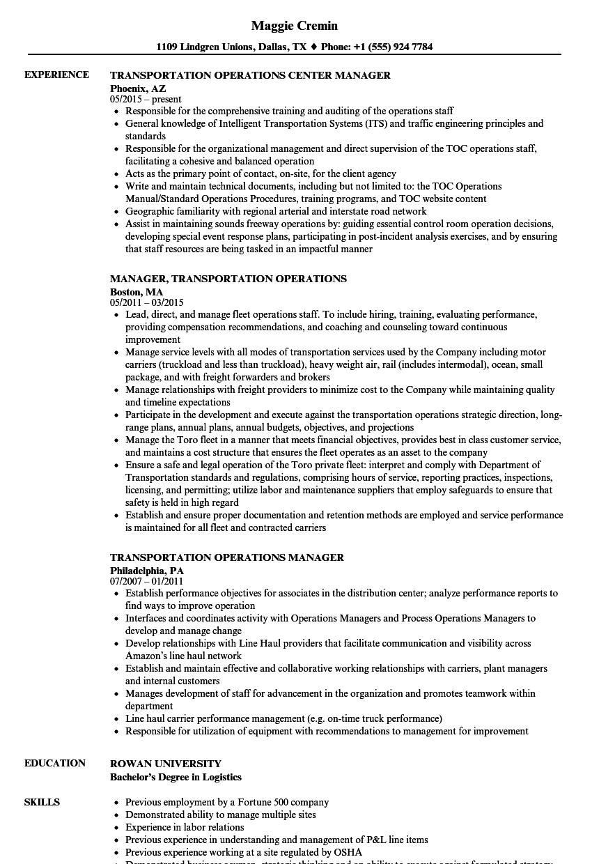 manager at trucking resume examples