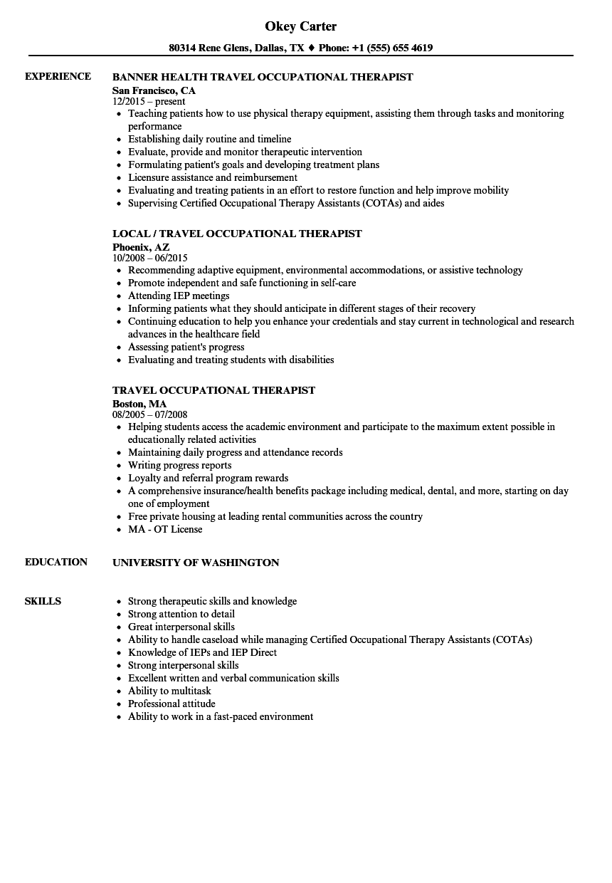 resume templates for occupational therapists