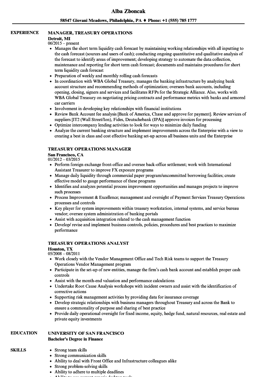 treasury operations manager resume examples