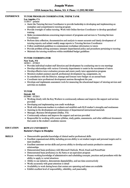 resume samples for tutor positions