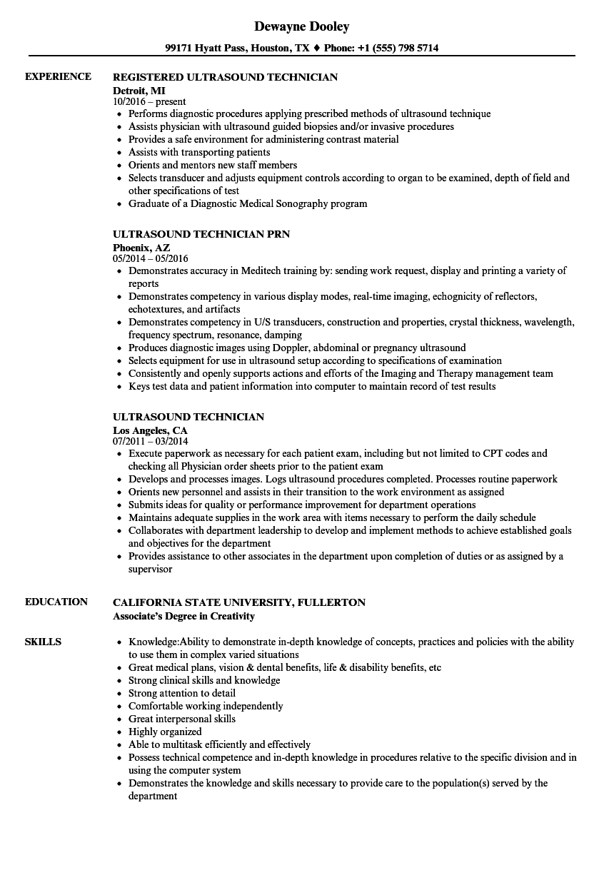 examples of ultrasound resume