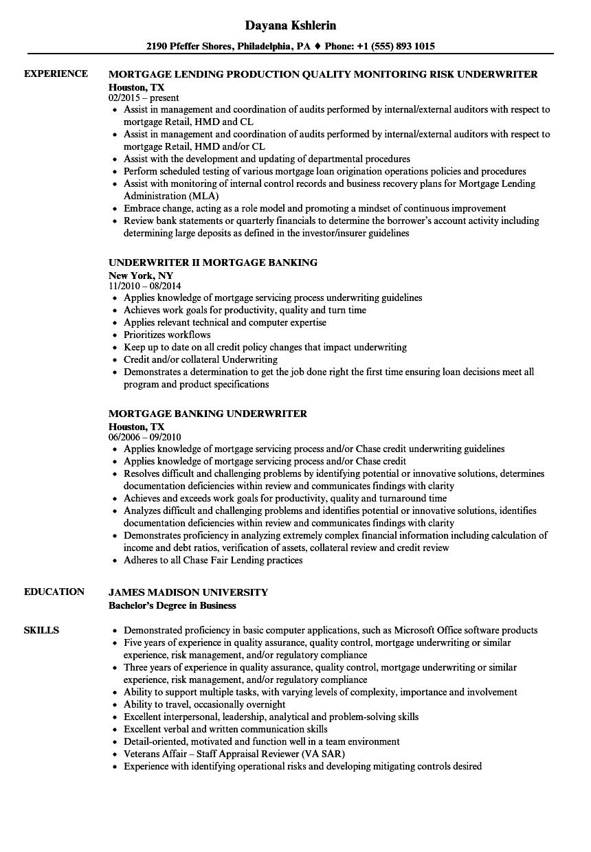 mortgage underwriter resume sample