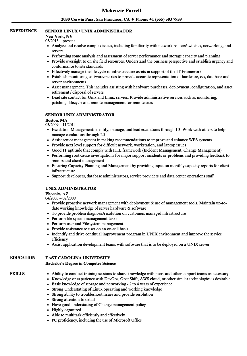 administrator resume sample