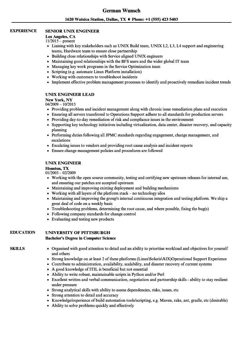 resume experience for a server