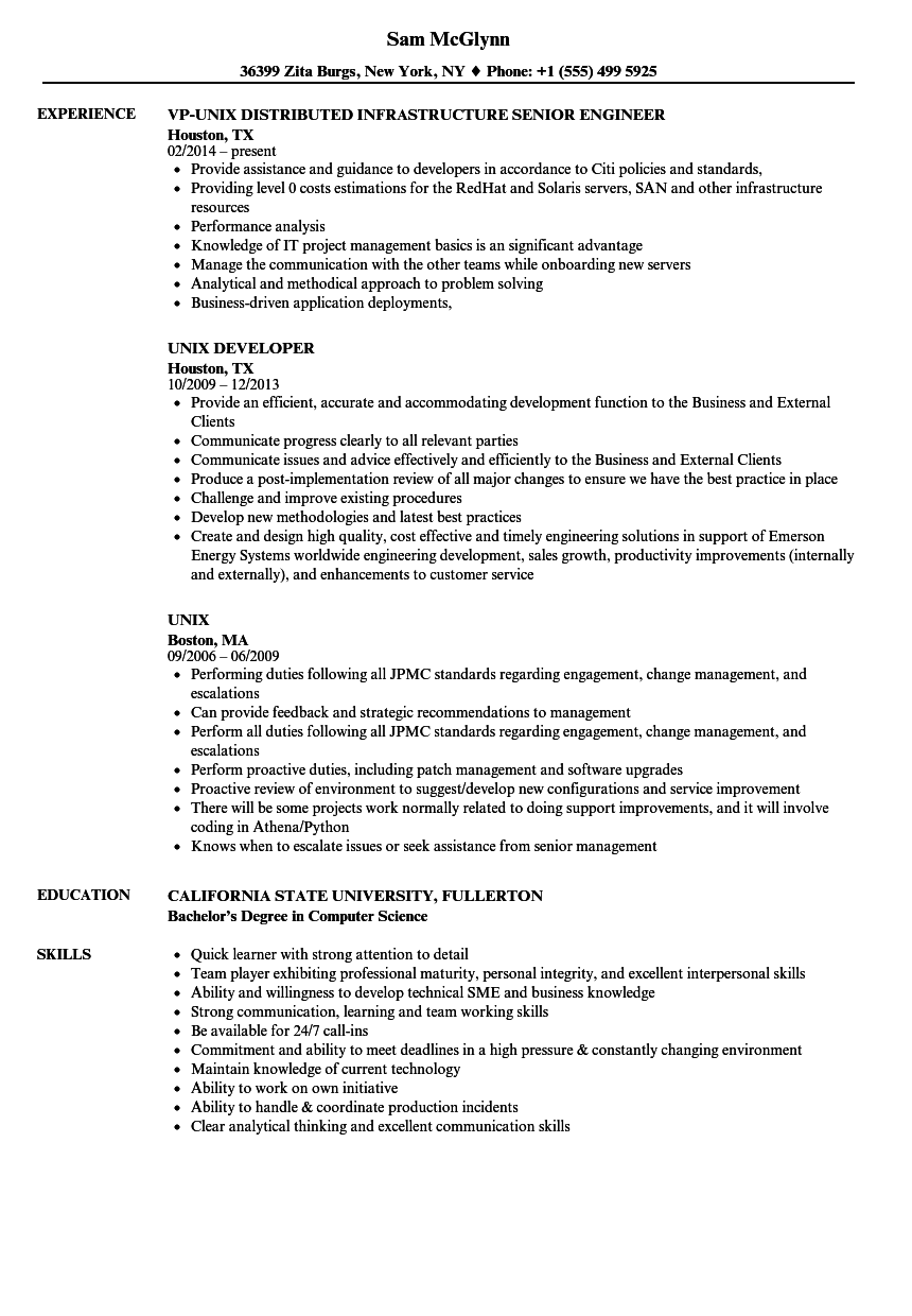 unix resume sample