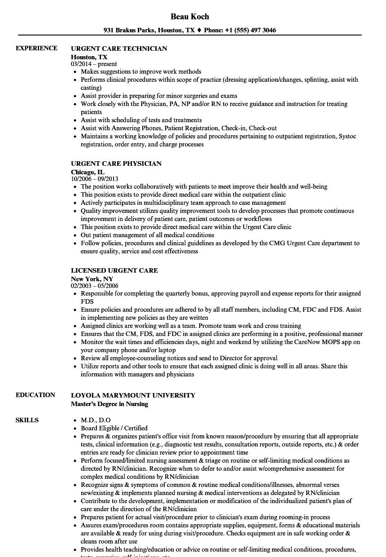 urgent care physician resume sample