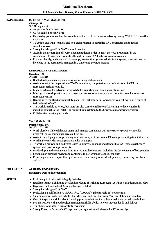 sample resume for gst manager