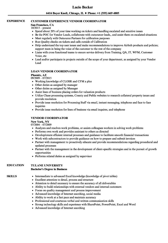 business coordinator resume sample